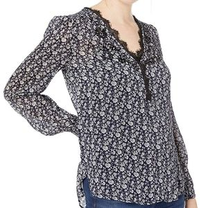LUCKY BRAND Blue Embroidered Lace Blouse